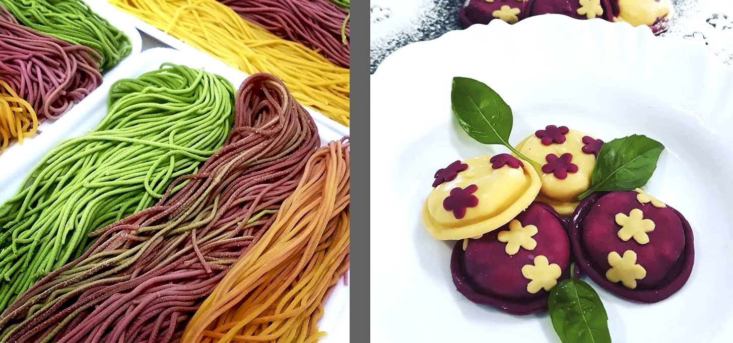 massas coloridas, sorrentino, spagheti, espaghete